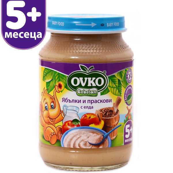 Ovko Бебешка млечна каша/ябълки и праскови с елда/190 гр. 5м+